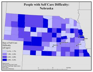 Map of Nebraska showing rates of people with self care difficulty by county. See Nebraska State Profile page for full text description.