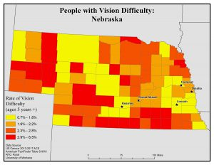 Map of Nebraska showing rates of people with vision difficulty by county. See Nebraska State Profile page for full text description.