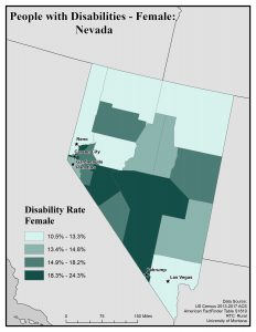 Map of NV showing rates of females with disability. See NV page for text description.
