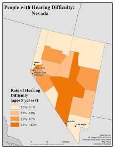Map of Nevada showing rates of people with hearing difficulty by county. See Nevada State Profile page for full text description.