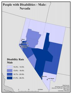 Map of NV showing rates of males with disability. See NV page for text description.