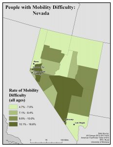 Map of Nevada showing rates of people with mobility difficulty by county. See Nevada State Profile page for full text description.