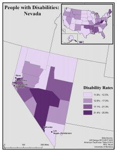 Map of Nevada showing disability rates by county. See Nevada State Profile for full text description.