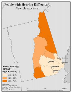 Map of NH showing rates of people with hearing difficulty by county. See NH State Profile page for text description.