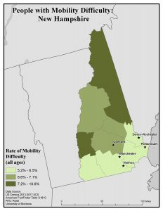 Map of NH showing rates of people with mobility difficulty by county. See NH State Profile page for text description.