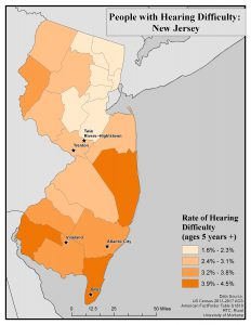 Map of New Jersey showing rates of hearing difficulty by county. See New Jersey state profile page for text description.