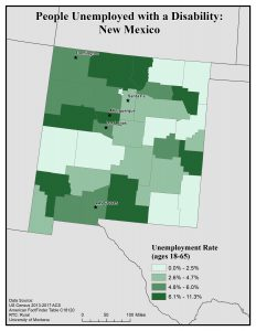 Map of NM showing rates of people with disability unemployed. See NM State Profile for text description.