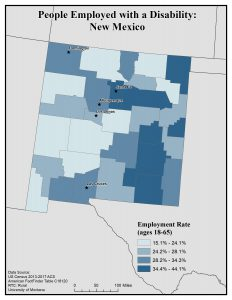 Map of NM showing rates of people with disability employed. See NM State Profile for text description.