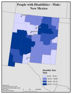 Map of NM showing rates of males with disability. See NM State Profile for text description.
