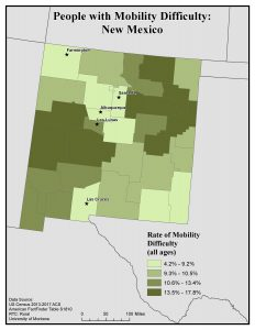 Map of New Mexico showing rates of people with mobility difficulty by county. See New Mexico State Profile page for full text description.