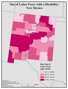 Map of NM showing rates of people with disability out of the labor force. See NM State Profile for text description.