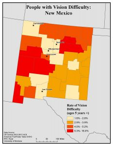 Map of New Mexico showing rates of people with vision difficulty. See New Mexico State Profile page for full text description.