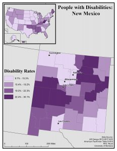 Map of New Mexico showing disability rates by county. See New Mexico State Profile page for full text description.
