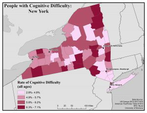 Map of New York showing rates of people with cognitive difficulty by county. See New York State Profile page for full text description.