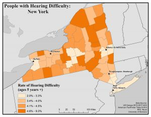 Map of New York showing rates of people with hearing difficulty by county. See New York State Profile page for full text description.