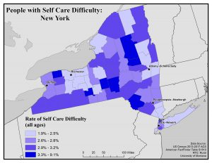 Map of New York showing rates of people with self care difficulty by county. See New York State Profile page for full text description.