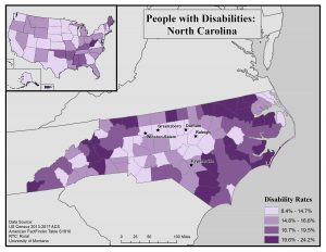 Map of North Carolina showing rates of people with disabilities by county. See NC State profile page for text description.