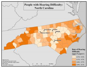 Map of NC showing rates of hearing difficulty by county. See NC State profile page for text description.
