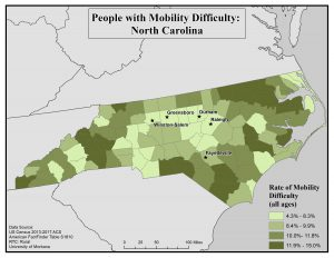 Map of NC showing rates of people with mobility difficulty by county. See NC State profile page for text description.