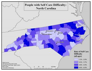 Map of NC showing rates of self care difficulty by county. See NC State profile page for text description.