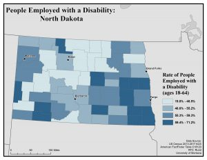 Map of North Dakota showing rates of people with disabilities who are employed. See North Dakota State Profile page for full text description.