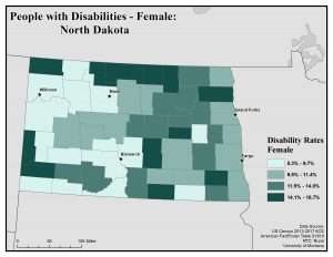 Map of North Dakota showing rates of females with disabilities by county. See North Dakota State Profile page for full text description.
