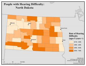Map of North Dakota showing rates of people with hearing difficulty. See North Dakota State Profile page for full text description.