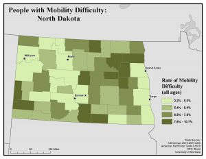 Map of North Dakota showing rates of people with mobility difficulty. See North Dakota State Profile page for full text description.