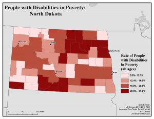 Map of North Dakota showing rates of people with disabilities in poverty. See North Dakota State Profile page for full text description.