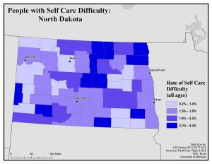 Map of North Dakota showing rates of people with self care difficulty. See North Dakota State Profile page for full text description.