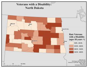 Map of North Dakota showing rates of veterans with disabilities. See North Dakota State Profile page for full text description.