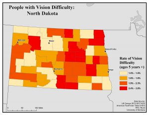 Map of North Dakota showing rates of people with vision difficulty. See North Dakota State Profile page for full text description.