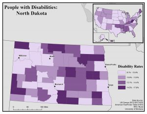 Map of North Dakota showing disability rates by county. See North Dakota State Profile page for full text description.