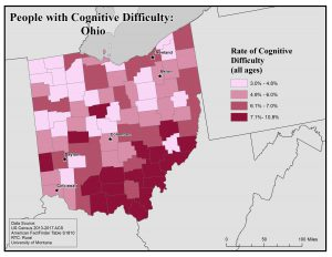 Map of Ohio showing rates of people with cognitive difficulty by county. See Ohio profile page for text description.