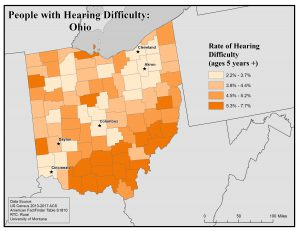 Map of Ohio showing rates of people with hearing difficulty by county. See Ohio profile page for text description.