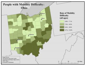Map of Ohio showing rates of people with mobility difficulty by county. See Ohio profile page for text description.