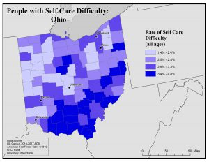 Map of Ohio showing rates of people with self-care difficulty by county. See Ohio profile page for text description.