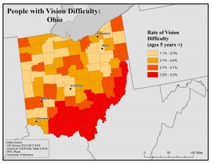 Map of Ohio showing rates of people with vision difficulty by county. See Ohio profile page for text description.