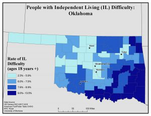 Map of IL showing rates of people with IL difficulty. See OK State Profile page for full text description.