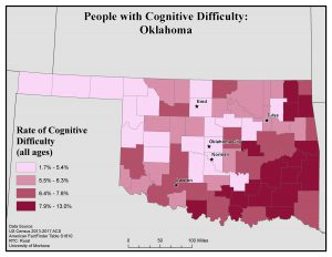 Map of OK showing rates of people with cognitive difficulty by county. See OK State Profile page for full text description.