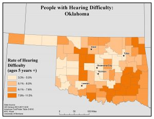 Map of OK showing rates of people with hearing difficulty by county. See OK State Profile page for full text description.