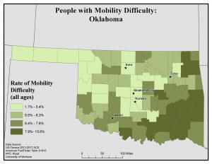 Map of OK showing rates of people with mobility difficulty by county. See OK State Profile page for full text description.