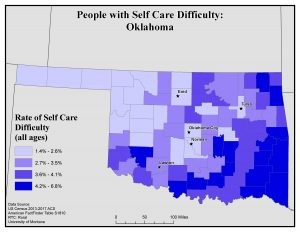 Map of OK showing rates of people with self care difficulty by county. See OK State Profile page for full text description.
