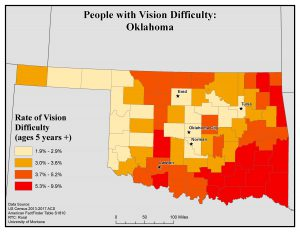 Map of OK showing rates of people with vision difficulty by county. See OK State Profile page for full text description.