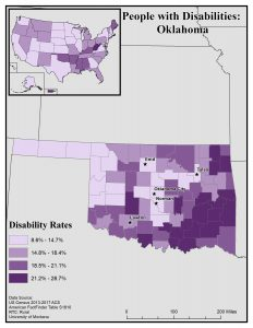Map of Oklahoma showing disability rates by county. See OK State Profile page for full text description.