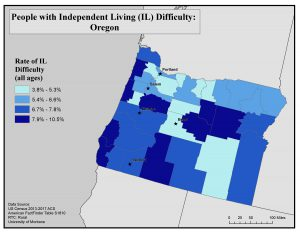 Map of Oregon showing rates of people with IL difficulty by county. See Oregon State Profile page for full text description.