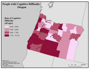 Map of Oregon showing rates of people with cognitive difficulty by county. See Oregon State Profile page for full text description.