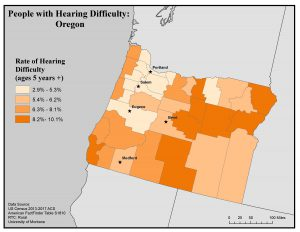 Map of Oregon showing rates of people with hearing difficulty by county. See Oregon State Profile page for full text description.