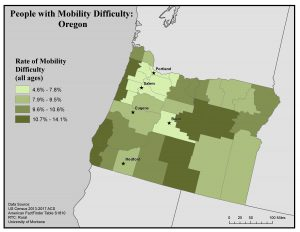 Map of Oregon showing rates of people with mobility difficulty by county. See Oregon State Profile page for full text description.