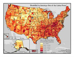This is a map of the United States which depicts out of labor force rates among people with disabilities by county.